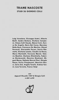 """Copertina libro """"Trame nascoste. Studi su Giorgio Colli"""""""