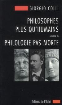 Copertina libro Philosophes plus qu'humains
