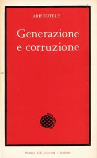 Copertina libro Generazione e corruzione, Aristotele